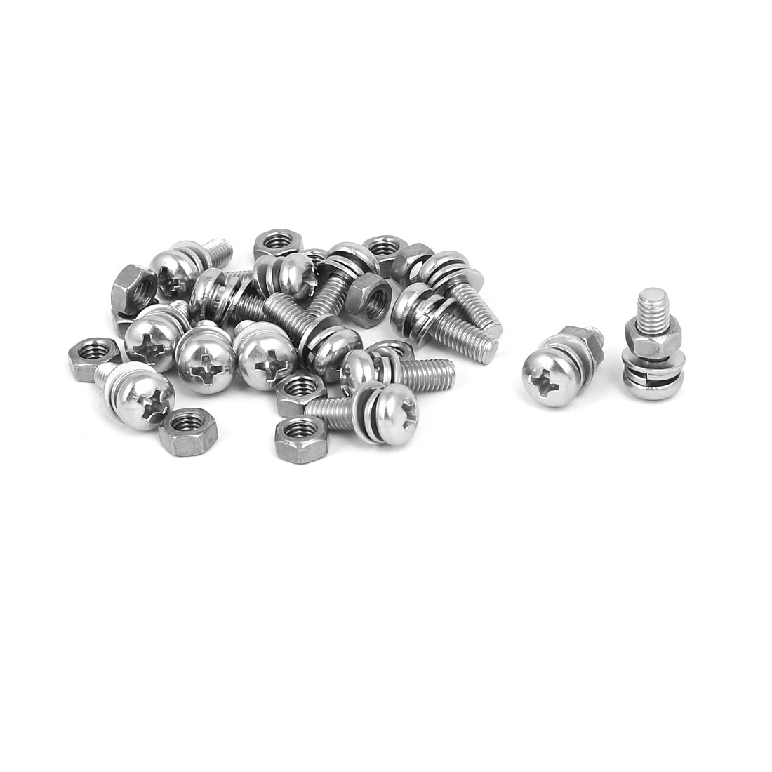 M5 x 14mm 304 Stainless Steel Phillips Pan Head Screws Nuts w Washers 15 Sets