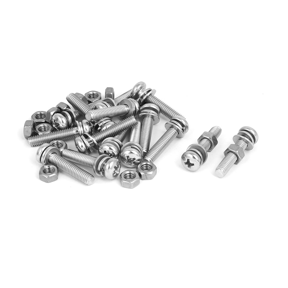 M5 x 25mm 304 Stainless Steel Phillips Pan Head Screws Nuts w Washers 15 Sets