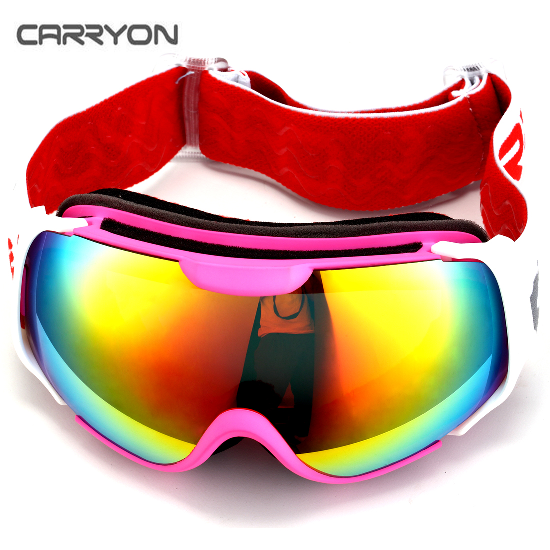 Carryon Authorized Kids Snowboard Goggles Ski Glasses Spherical Lens Anti-fog Anti-slip Strap Pink