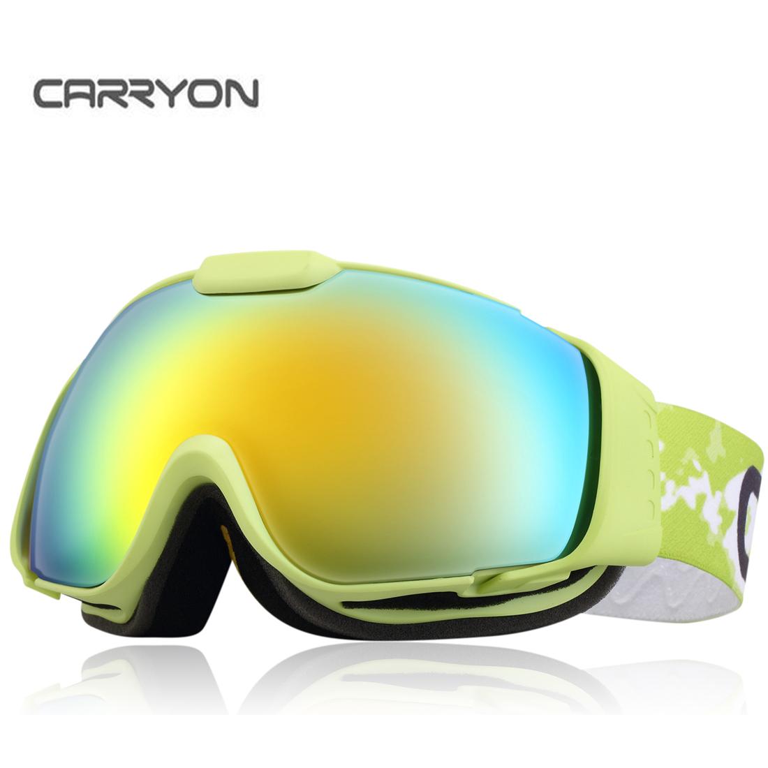 Carryon Authorized Kids Snowboard Goggles Ski Glasses Spherical Lens Anti-fog Anti-slip Strap Green