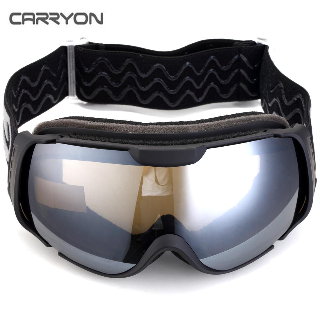 Carryon Authorized Kids Snowboard Goggles Ski Glasses Spherical Lens Anti-fog Anti-slip Strap Black