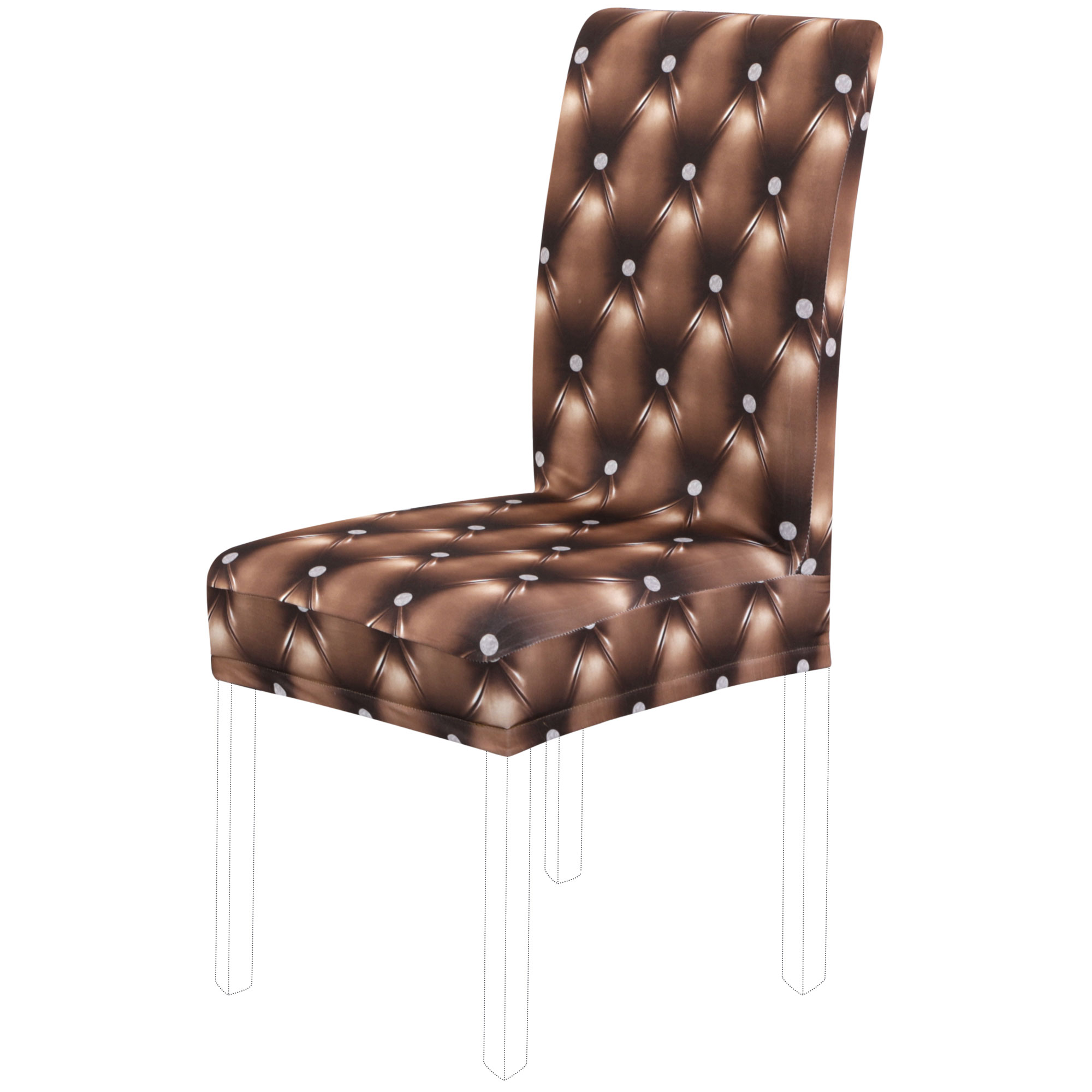 Piccocasa Stretchy Dining Chairs Cover Short Chair Covers Washable Protector Seat Slipcover For Wedding Restaurant Banquet Decor Coffee Color