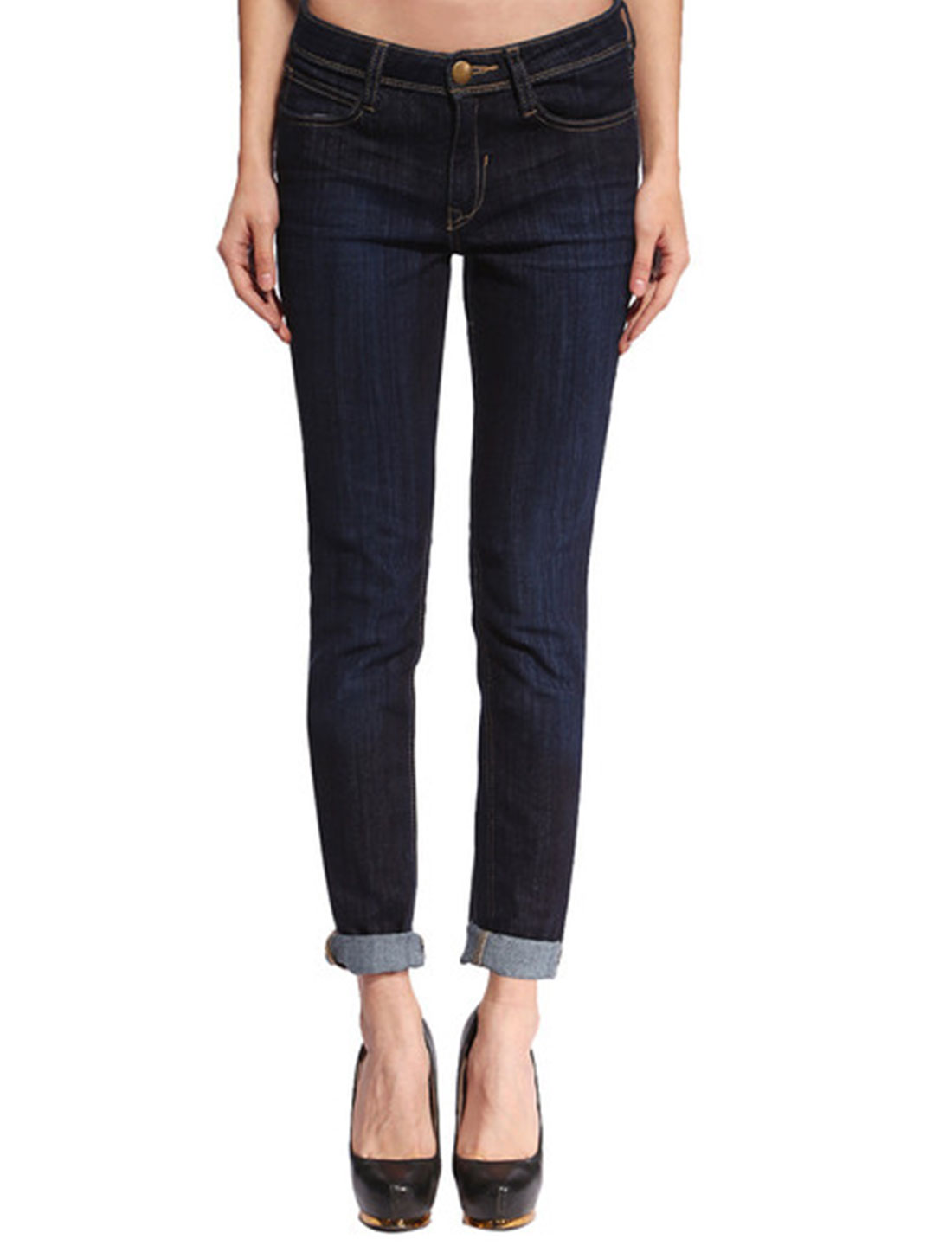 ANLADIA Authorized Women Low Rise Stretchy Skinny Jeans Blue S