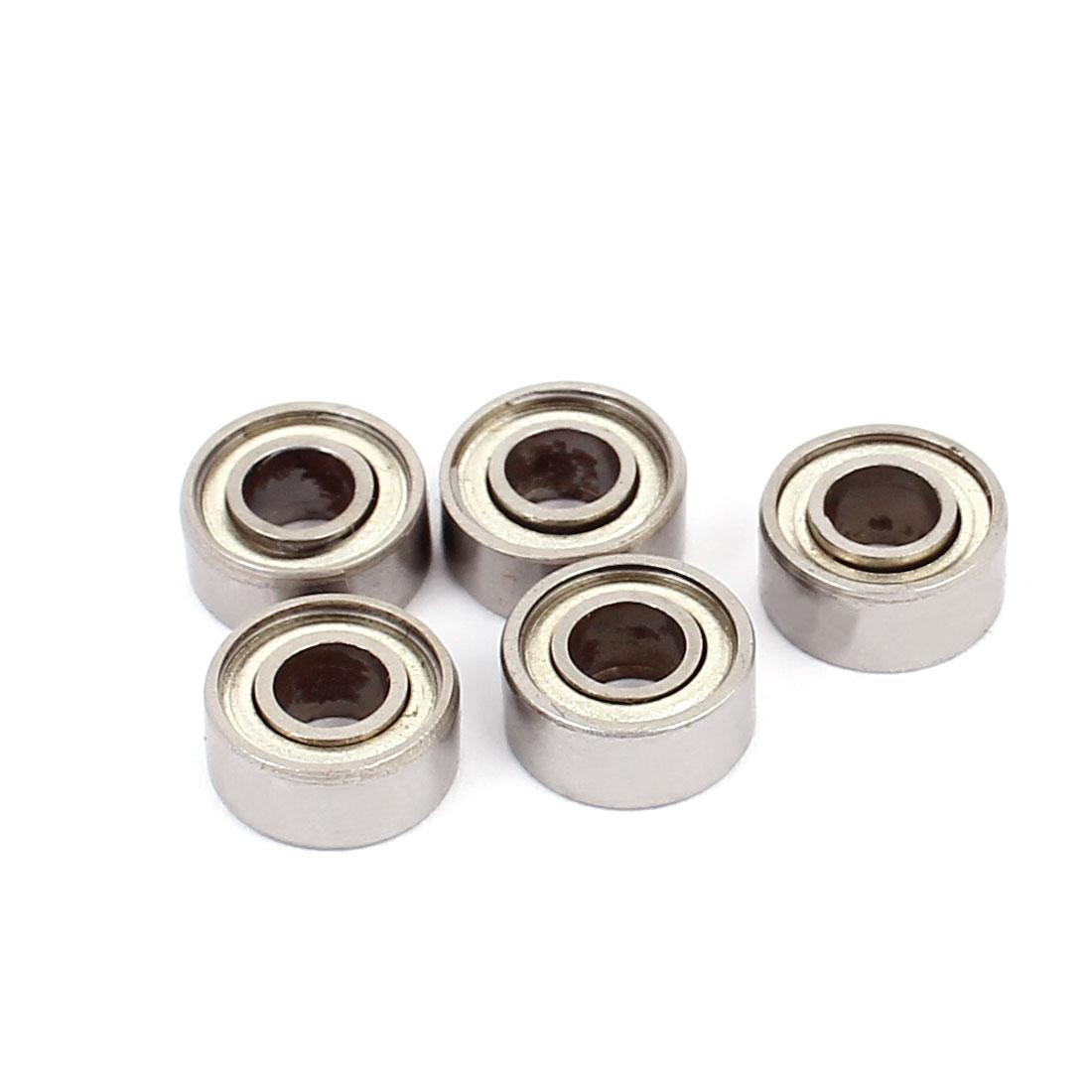 684ZZ Double Shielded Deep Groove Ball Bearings Silver Tone 9mmx4mmx4mm 5pcs