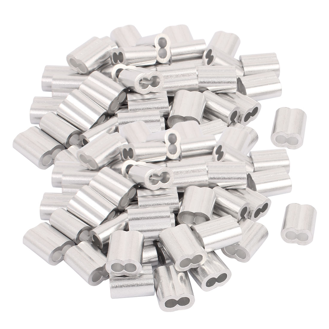 4mm Wire Rope Aluminum Sleeves Clip Fittings Loop Sleeve Cable Crimps 100pcs