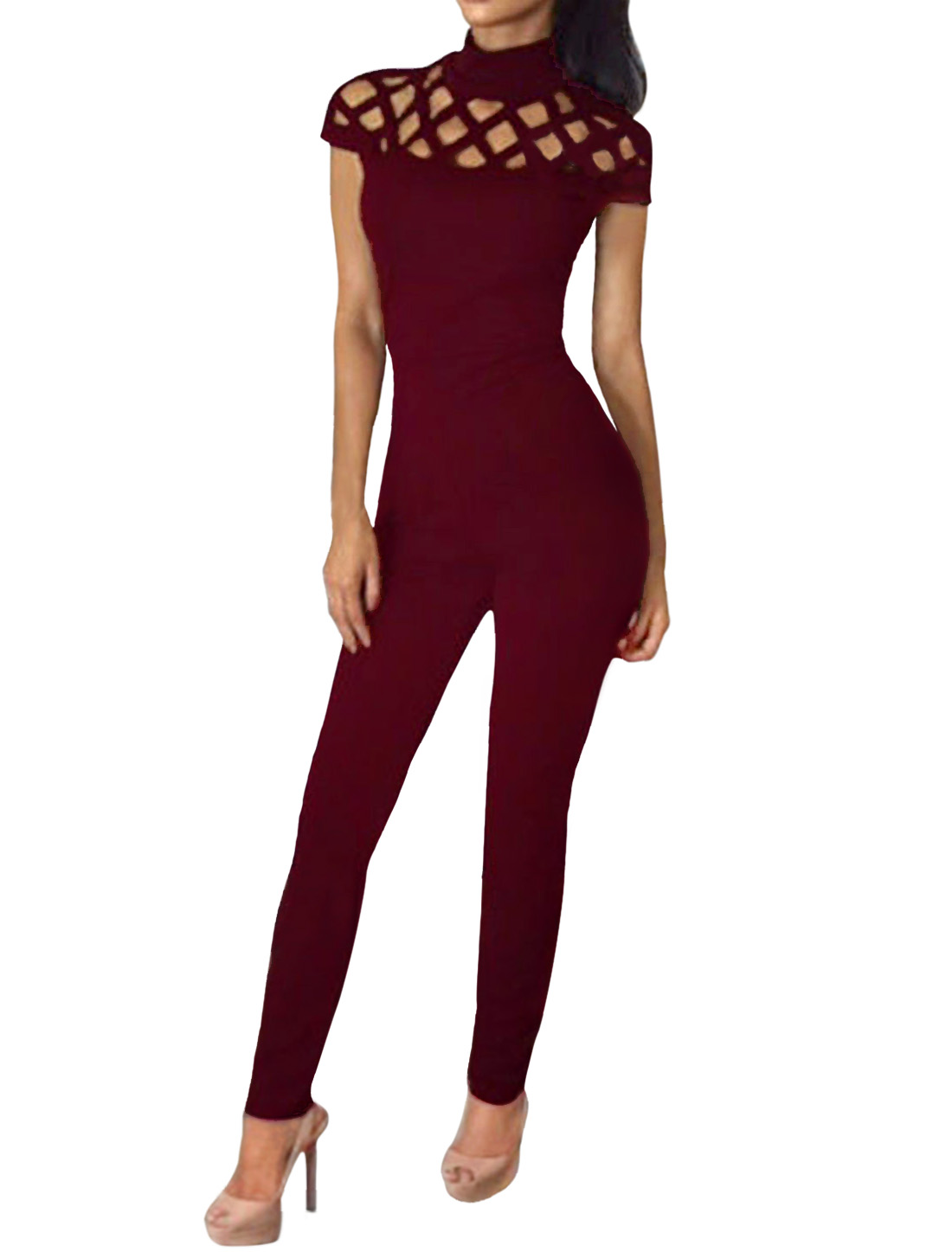Women Cap Sleeves Hollow Out Upper Mock Neck Jumpsuit Red S