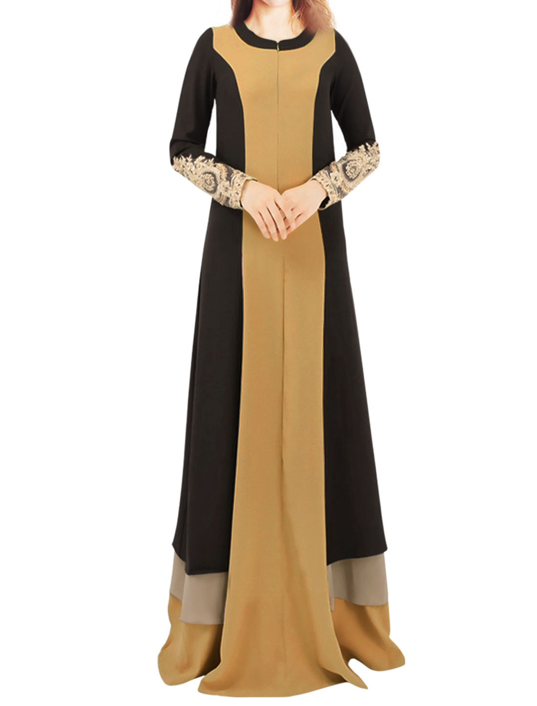 Women Long Sleeves Crochet Panel Contrast Color Tiered Maxi Dress Brown M
