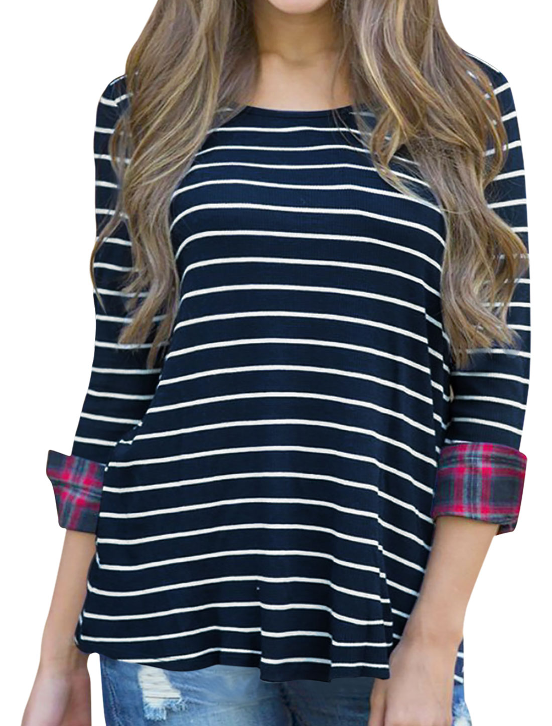 Women Plaids Cuffs Scoop Neck 3/4 Sleeves Striped Tunic Top Blue S