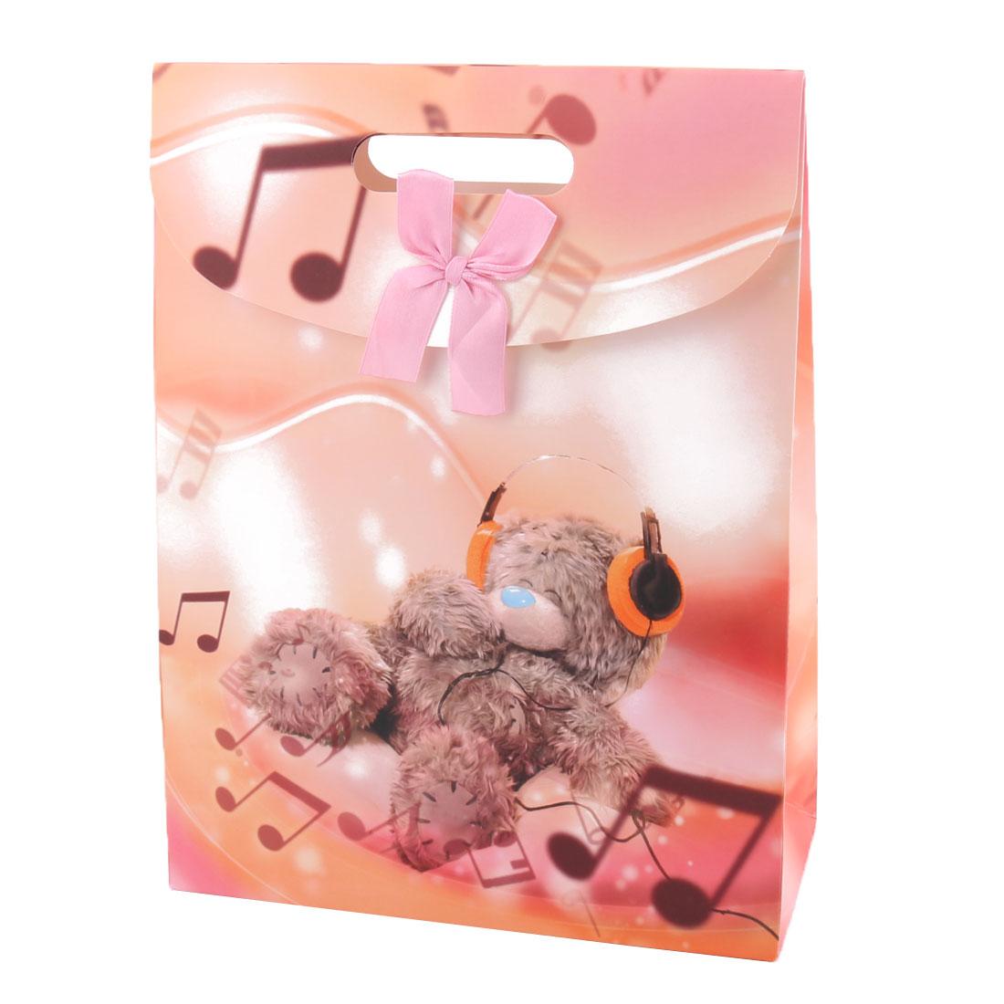 Shopping Kraft Paper Musical Bear Pattern Butterfly Knot Decor Trinket Hand Bag
