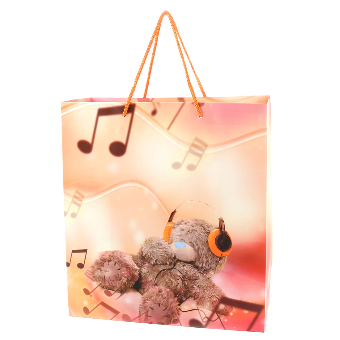 Outdoor Shopping Kraft Paper Note Pattern Gift String Hand Carrier Bags Multicolor