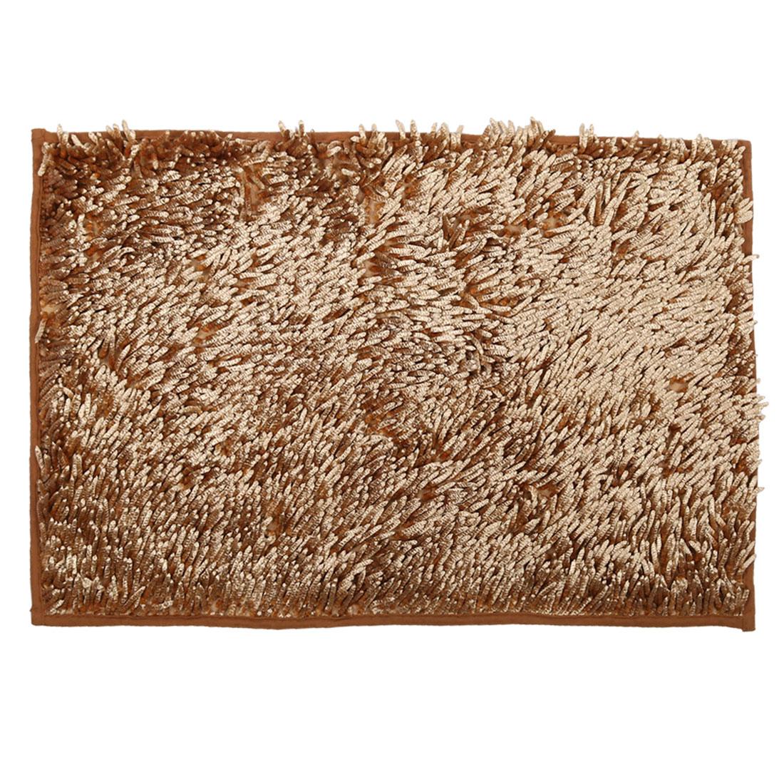 Home Bathroom Non Slip Absorbent Bath Rug Mat Carpet Light Brown 32 x 20 Inches