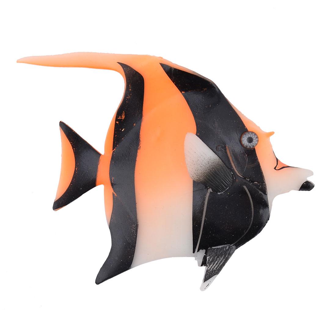 Aquarium Fish Tank Silicone Angelfish Decor Floating Ornament Model Toy Black