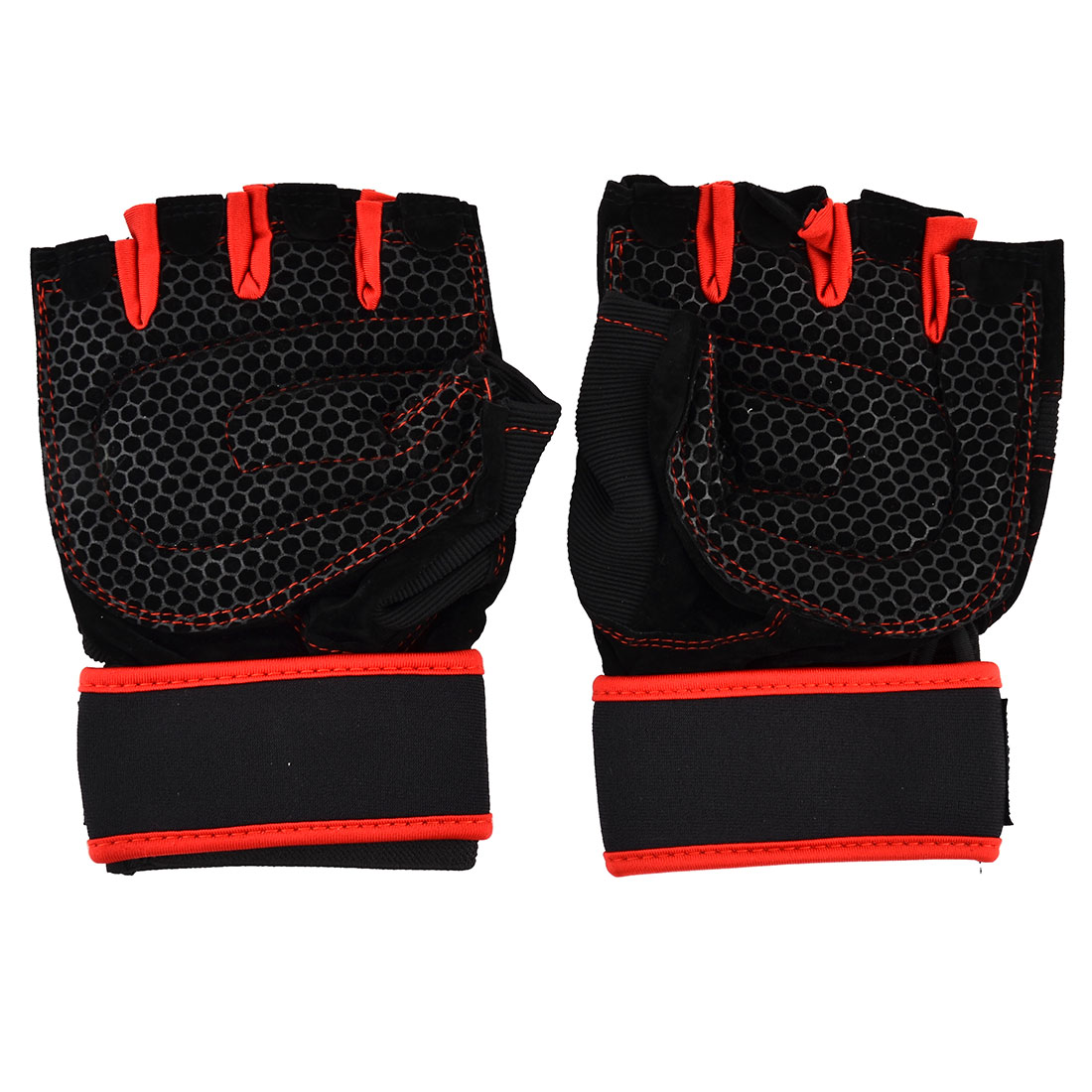 Skating Weightlifting Cycling Sport Half Finger Fingerless Gloves Black Red Pair