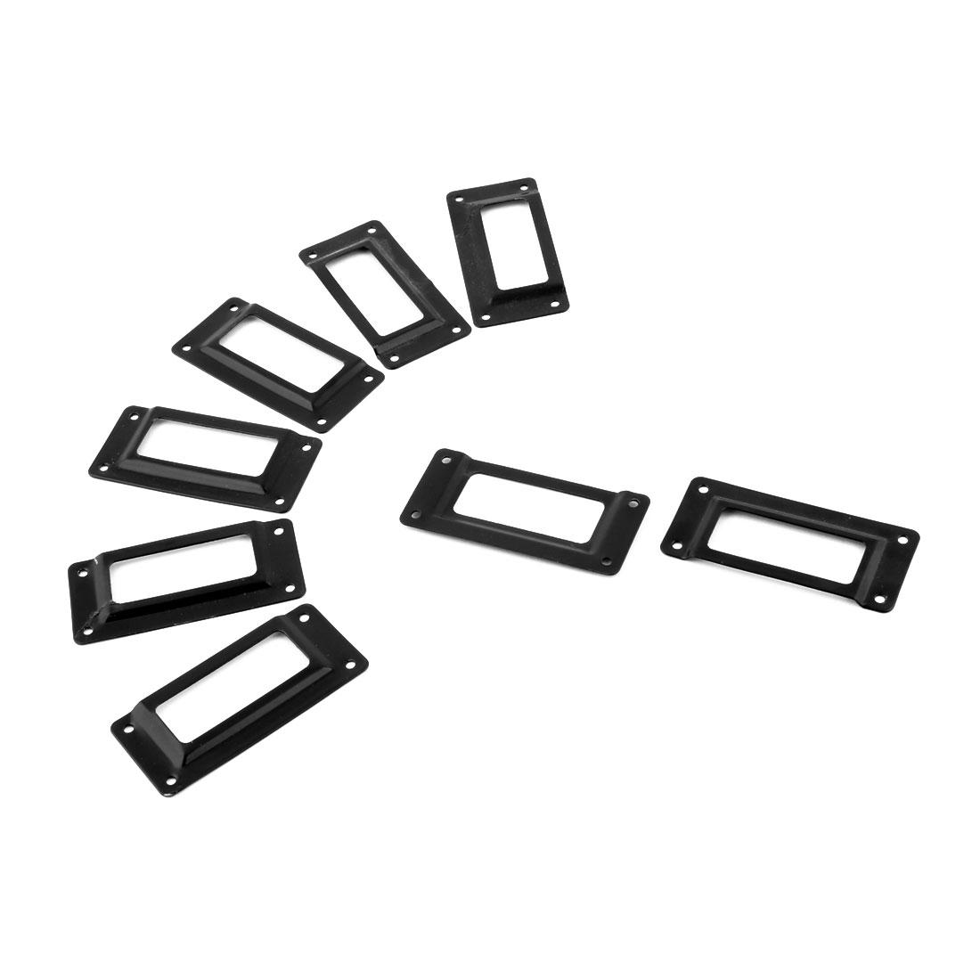 Office Library Metal Tag Frame Drawer Box Case Label Card Holder Black 8pcs