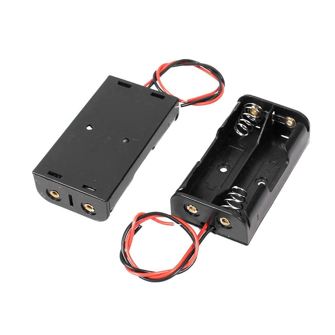 Plastic Shell Spring Clip Design 2-Wire 4 x 1.5V AA Battery Holder Case Box 2Pcs