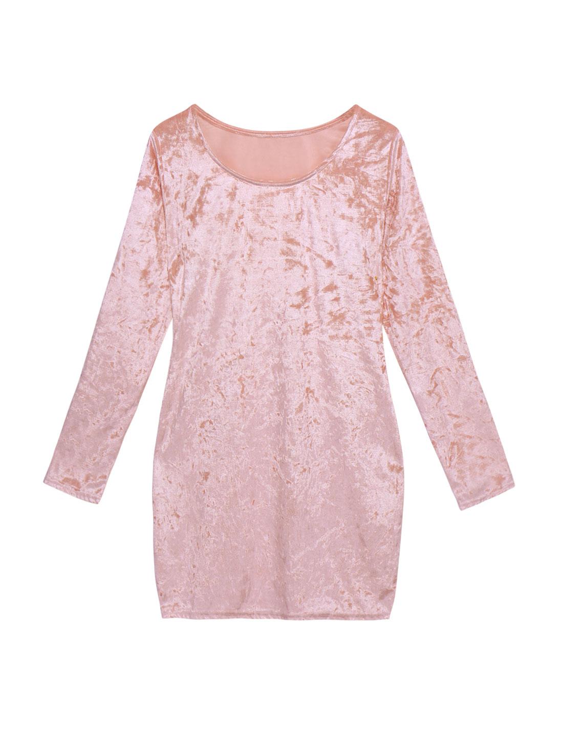 Women Scoop Neck Long Sleeves Velvet Tunic Sheath Dress Pink L