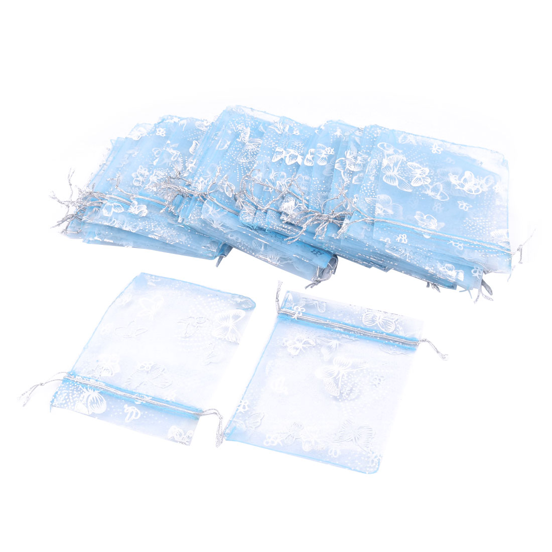 Organza Butterfly Pattern Jewelry Packing Pouch Wedding Gift Bag Blue 50 Pcs