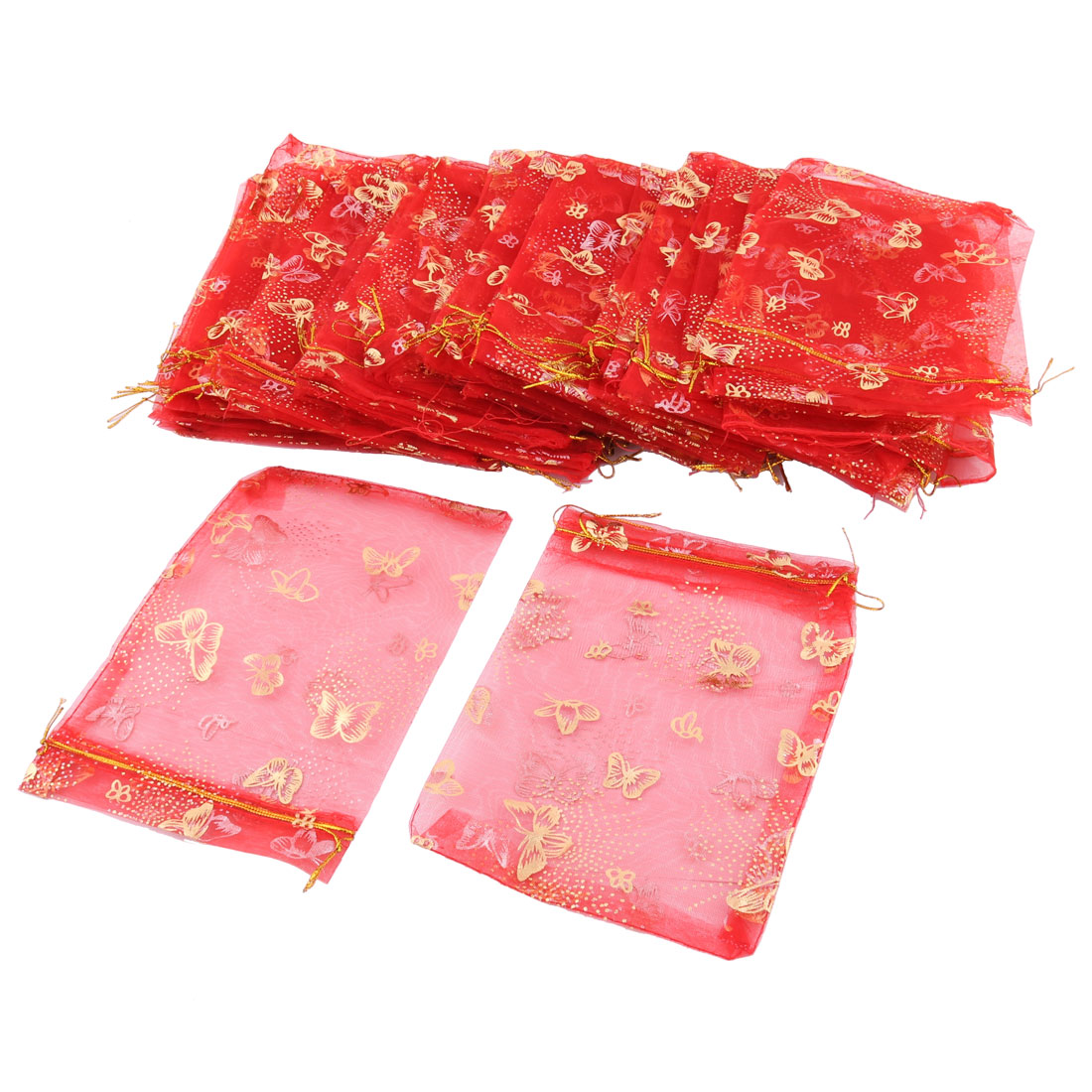 Organza Butterfly Pattern Jewelry Candy Pouch Wedding Party Gift Bag Red 50 Pcs
