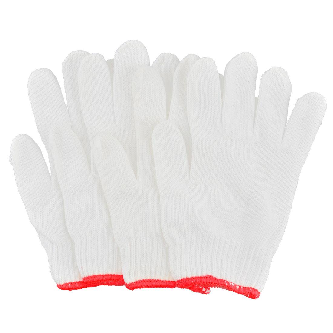 Carpenter Electrician Cotton Blends Stretch Cuff Working Gloves White 4 Pcs