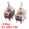 5 Pcs AC 250V 15A 6 Terminal ON-ON 2 Position DPDT Latch Toggle Switch