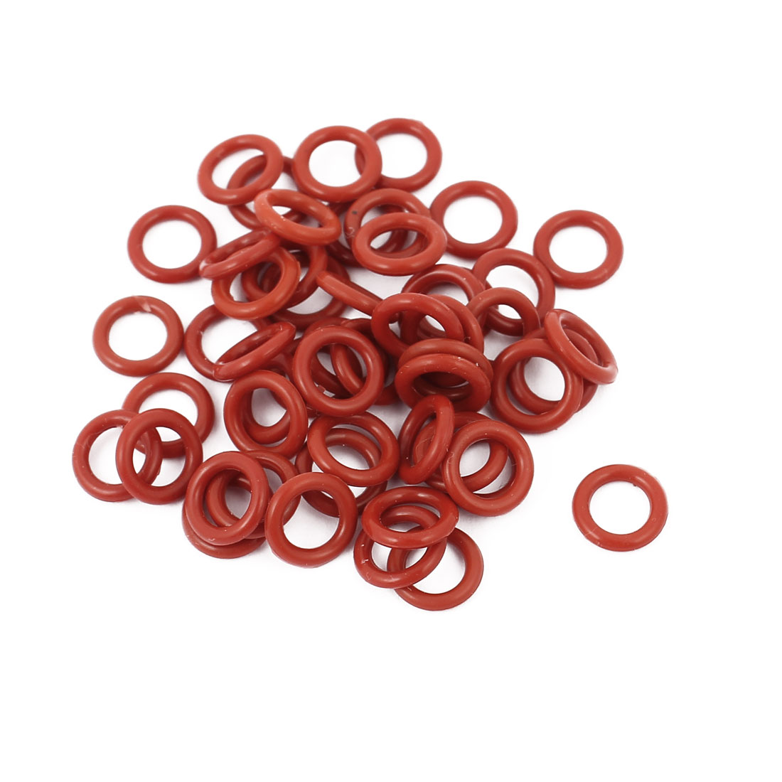 50pcs 1.5mm Thick Heat Oil Resistant Mini O-Ring Rubber Sealing Ring 8mm OD Red