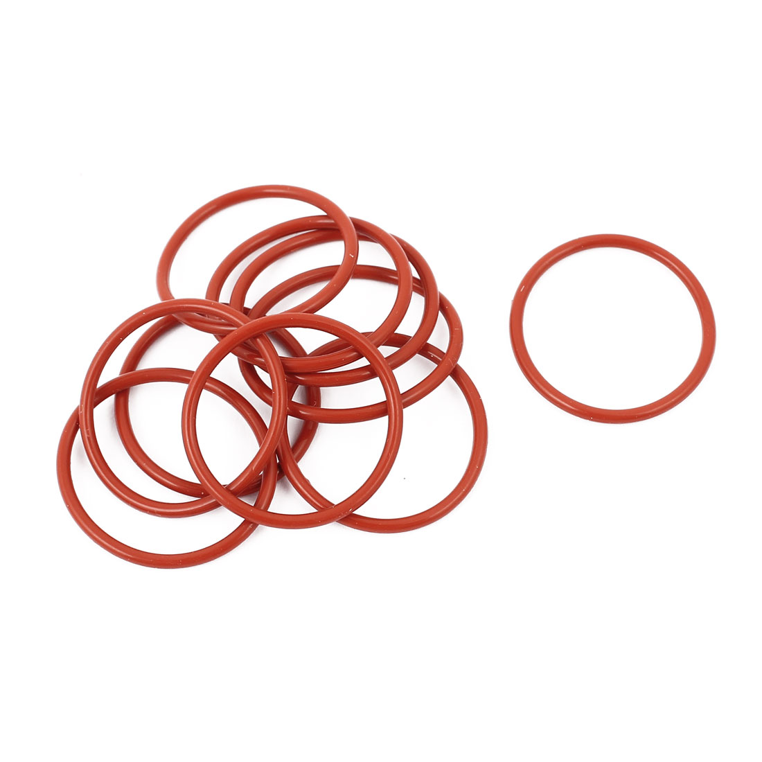 10pcs 1.5mm Thick Heat Oil Resistant Mini O-Ring Rubber Sealing Ring 22mm OD Red
