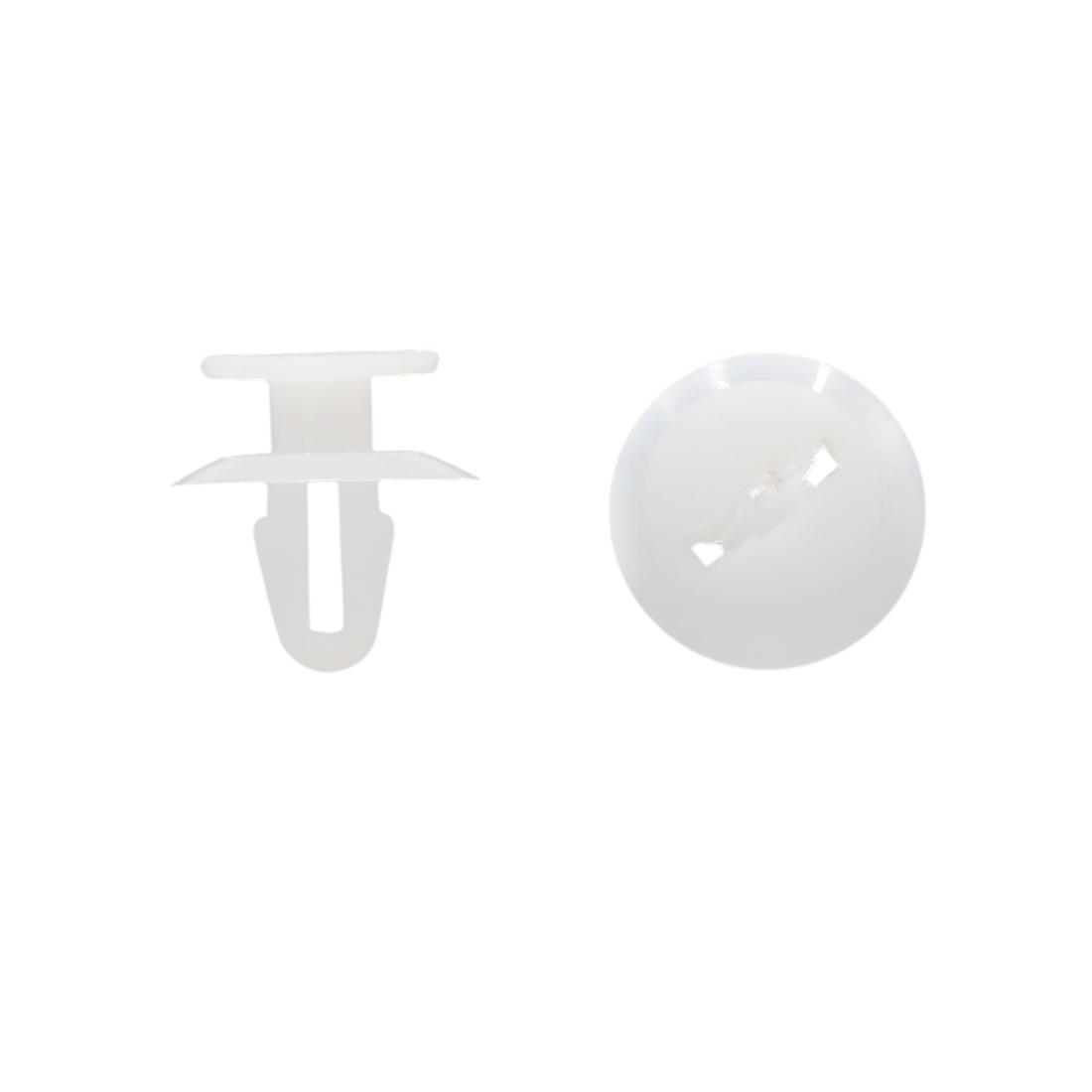 100pcs 6mm Hole 12mm Head Plastic Rivets Fastener Push Clips White for Car