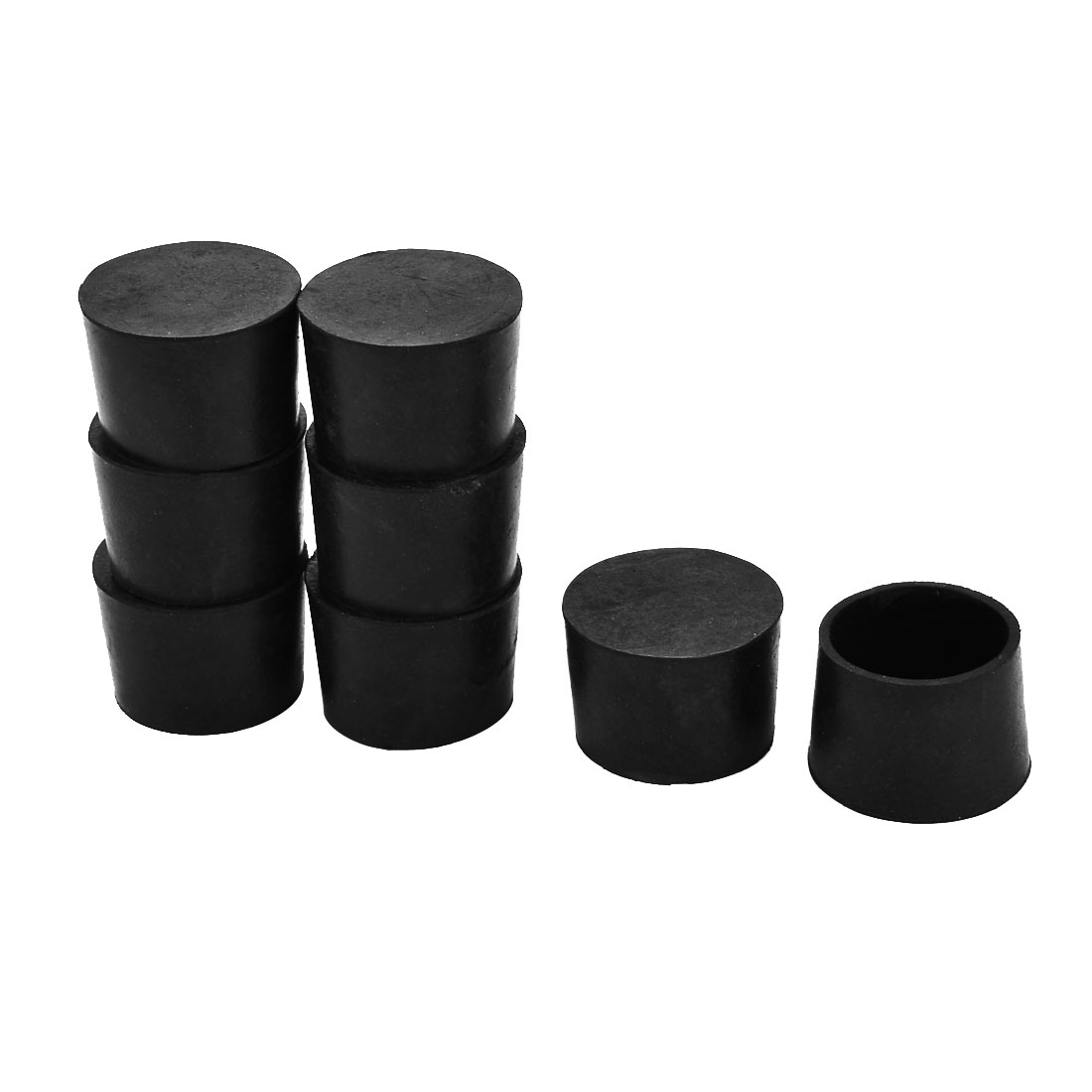 Furniture Rubber Round Leg Foot Cover Holder Protector Black 40mm Inner Dia 8pcs