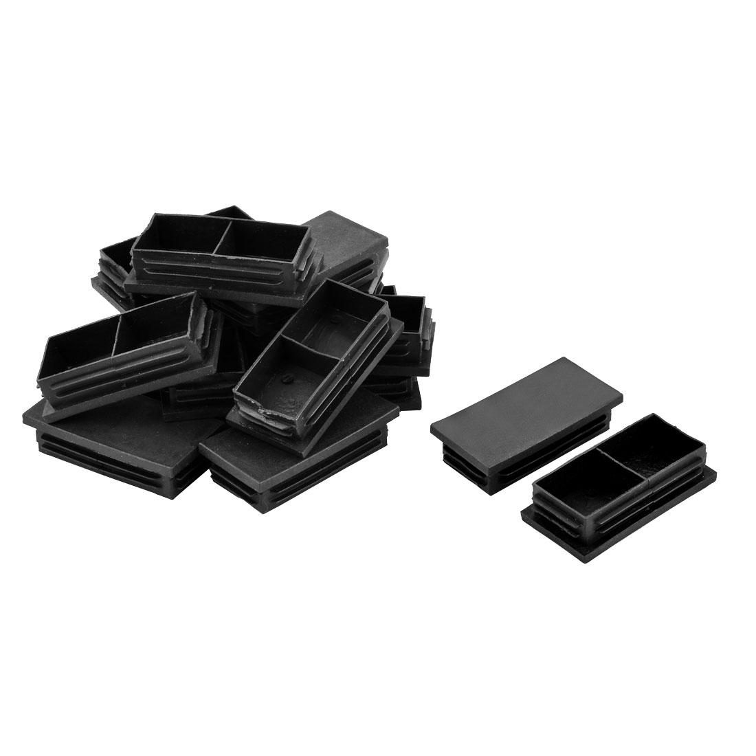 Table Chair Legs Plastic Tube Inserts End Blanking Caps Black 79 x 39mm 16pcs