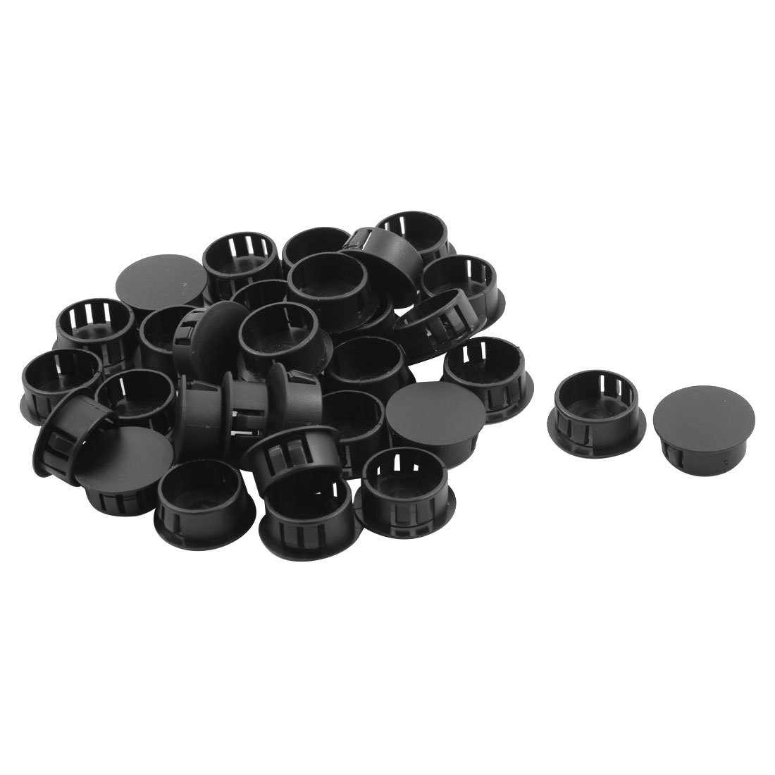 Plastic Round Flush Type Connector Hole Stoppers Covers Black 22mm Fit Dia 32pcs