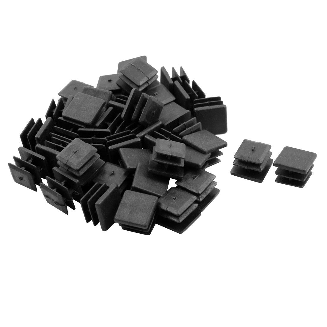 Furniture Plastic Square Tube Insert Cover Cap Cushion Black 15 x 15mm 40pcs