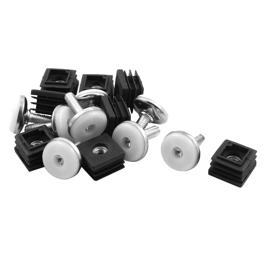 Furniture Plastic Round Base Leveling Leg Rectangle Tube Insert 25 x 25mm 8 Sets