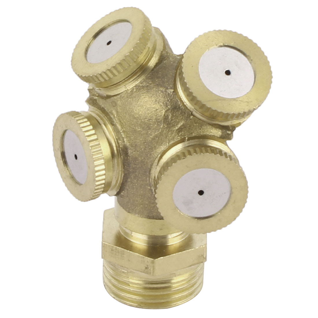 Garden Brass Irrigation 4 Water Outlet Holes Spray Nozzle 20mm Male Thread Dia