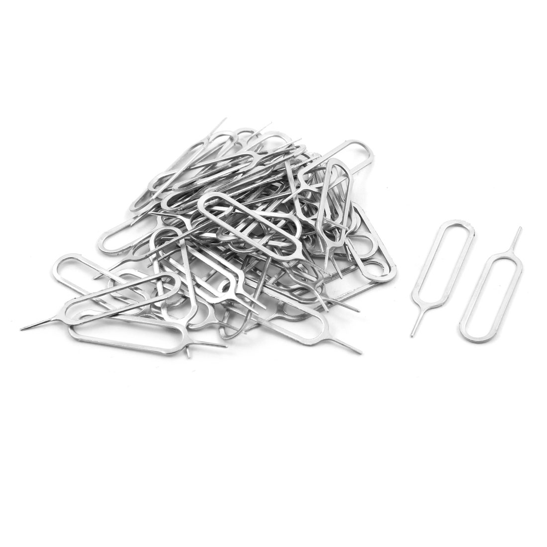 Smartphone Metal SIM Card Needle Tray Remover Eject Tool Key Silver Tone 50pcs