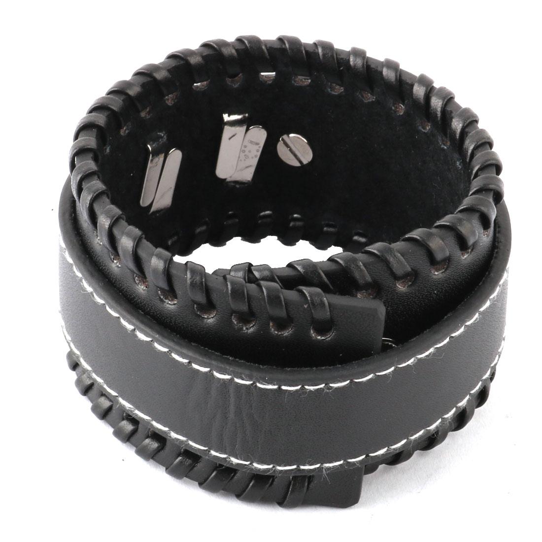 Women Faux Leather Adjustable Punk Press Stud Button Decor Band Bracelet Black