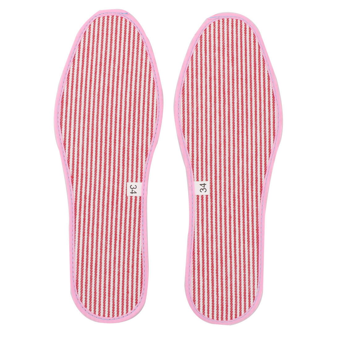 Lady Fabric Stripes Pattern Replacement Shoes Insoles Pads Pink EU Size 35 Pair