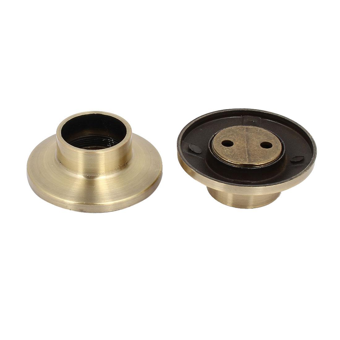Wardrobe Cupboard Metal Rail Rod End Supports Bracket Socket Bronze Tone 2pcs