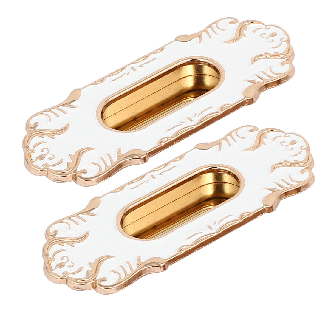 64mm Hole Spacing Metal Antique Style Flush Pull Handle Gold Tone White 2pcs