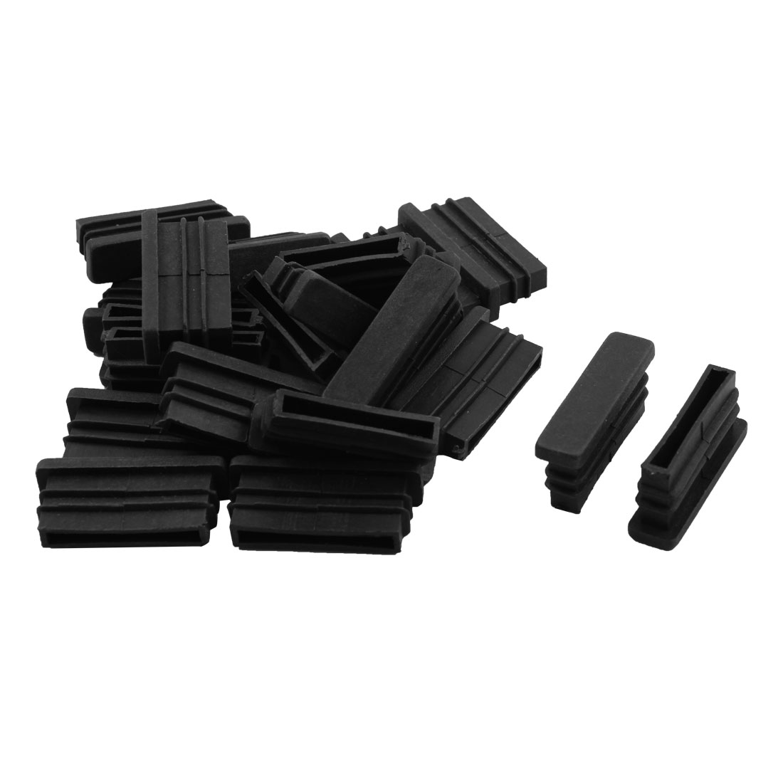 Furniture Sofa Chair Plastic Rectangle Tube Insert Cover Black 10 x 40mm 20pcs