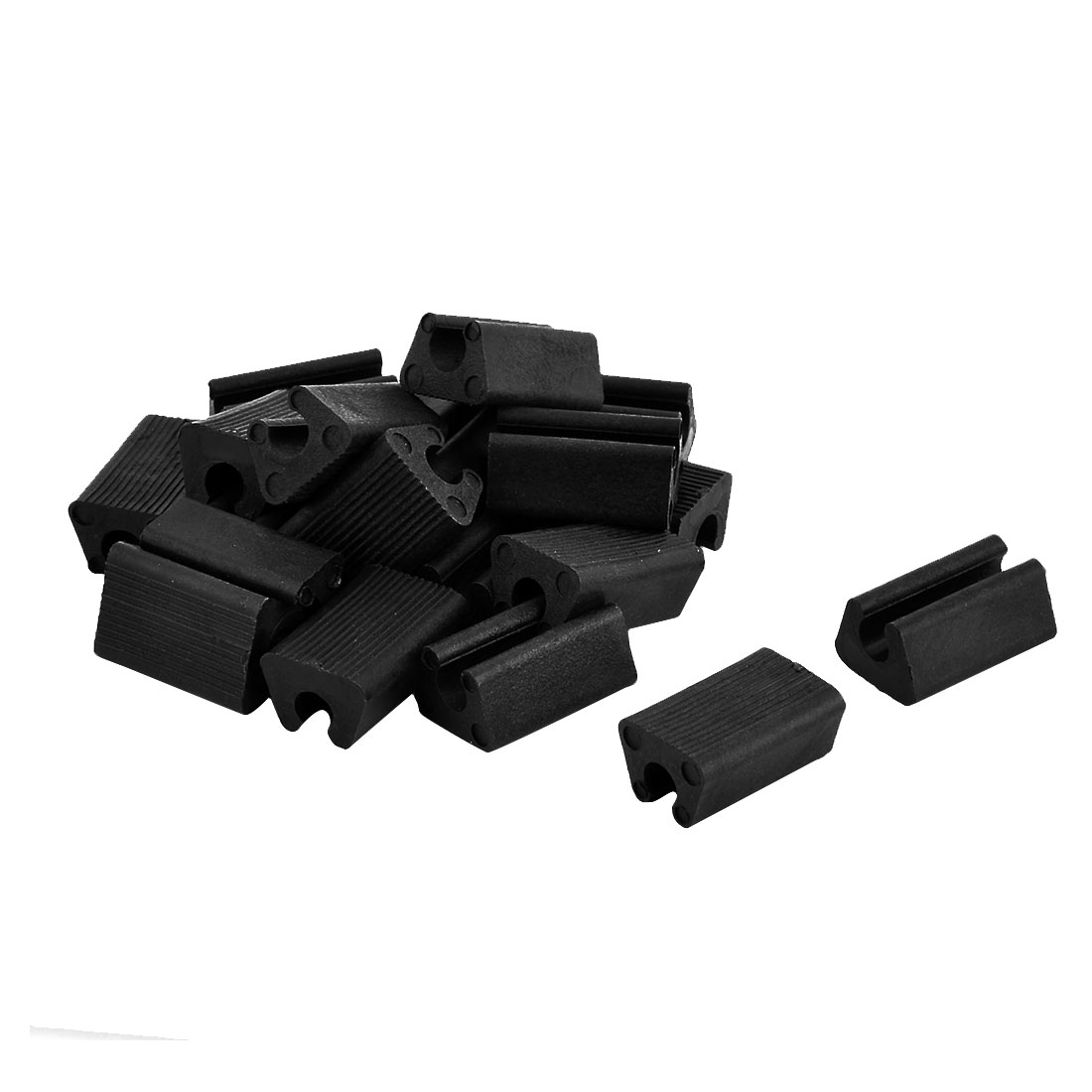 Furniture Feet Plastic Rectangle Shaped Non-Slip Table Legs Tip Black 20pcs