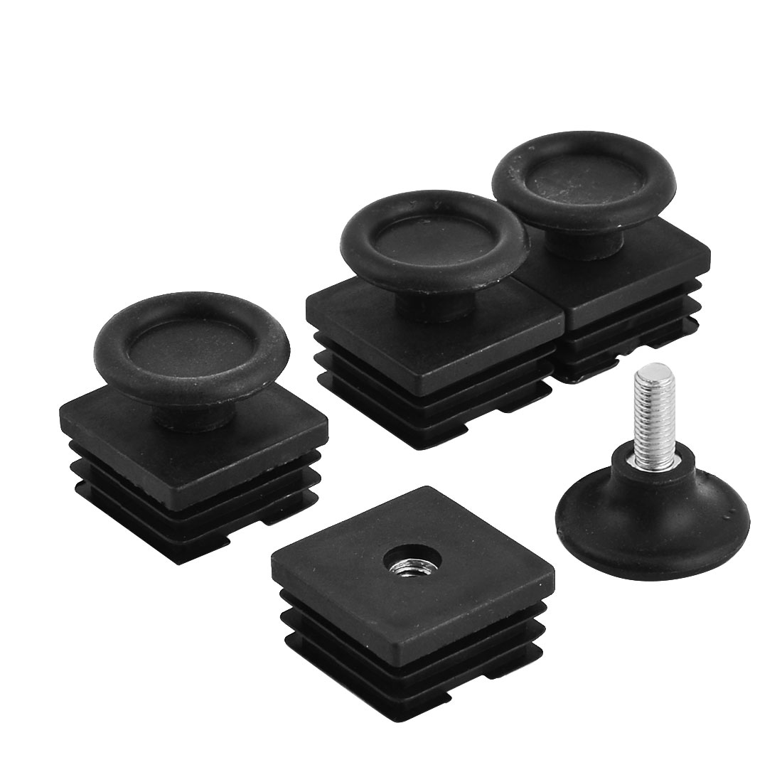 Furniture Accessory Leveling Feet Rectangle Tube Pipe Inserts Bungs Black 4 Sets