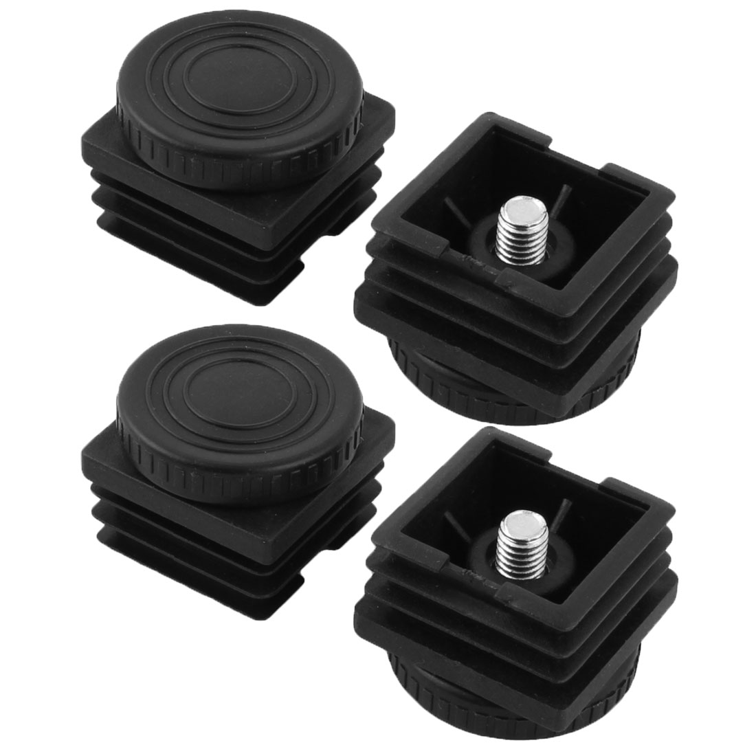 Home Plastic Chair Protector Adjustable Leveling Foot Tube Insert Black 4 Pcs