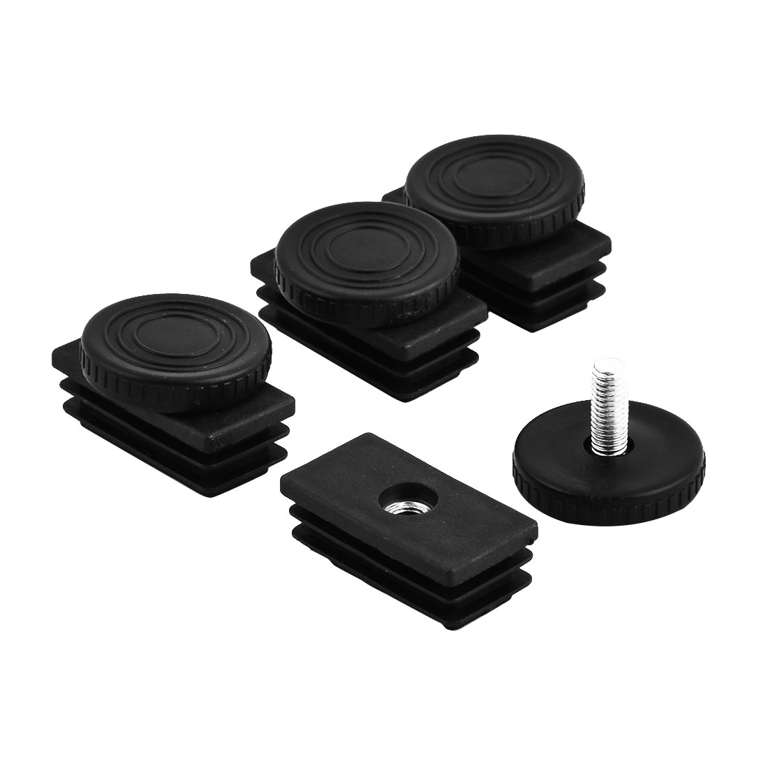 Home Furniture Table Adjustable Leg Base Tube Inserts Leveling Feet Black 4 Sets