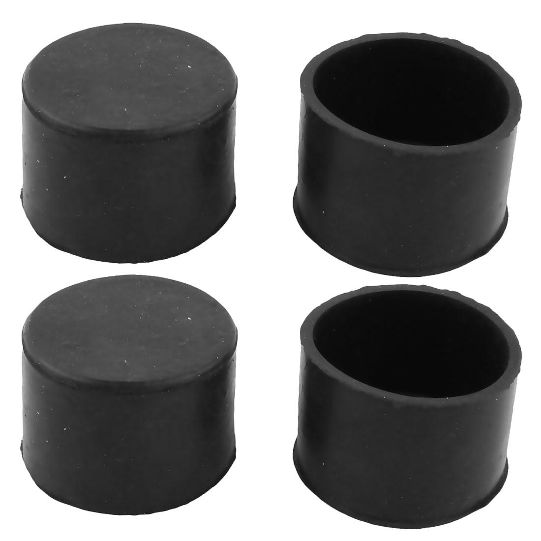Home Rubber Round Design Furniture Cupboard Sofa Leg Protector Cover Cap 4 Pcs