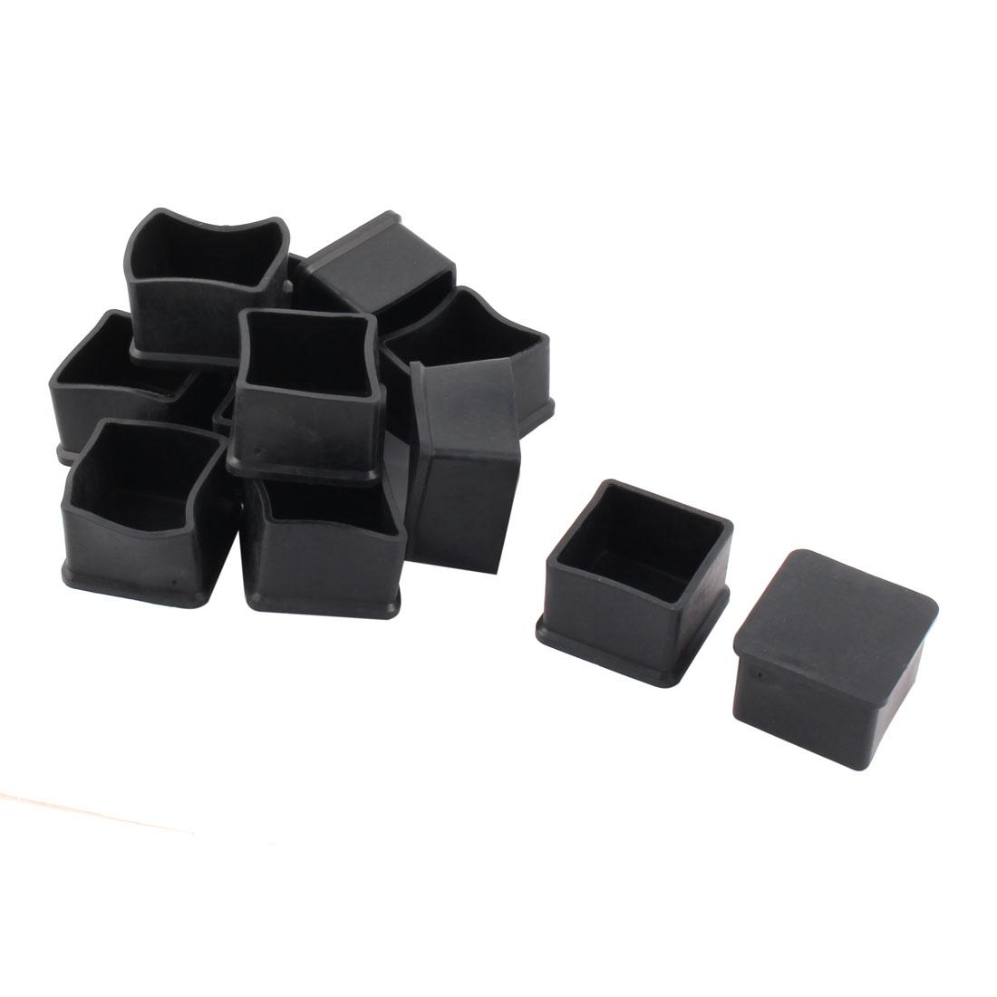 Rubber Square Design Anti-slip Furniture Cupboard Leg Cover Pad Cap 12pcs