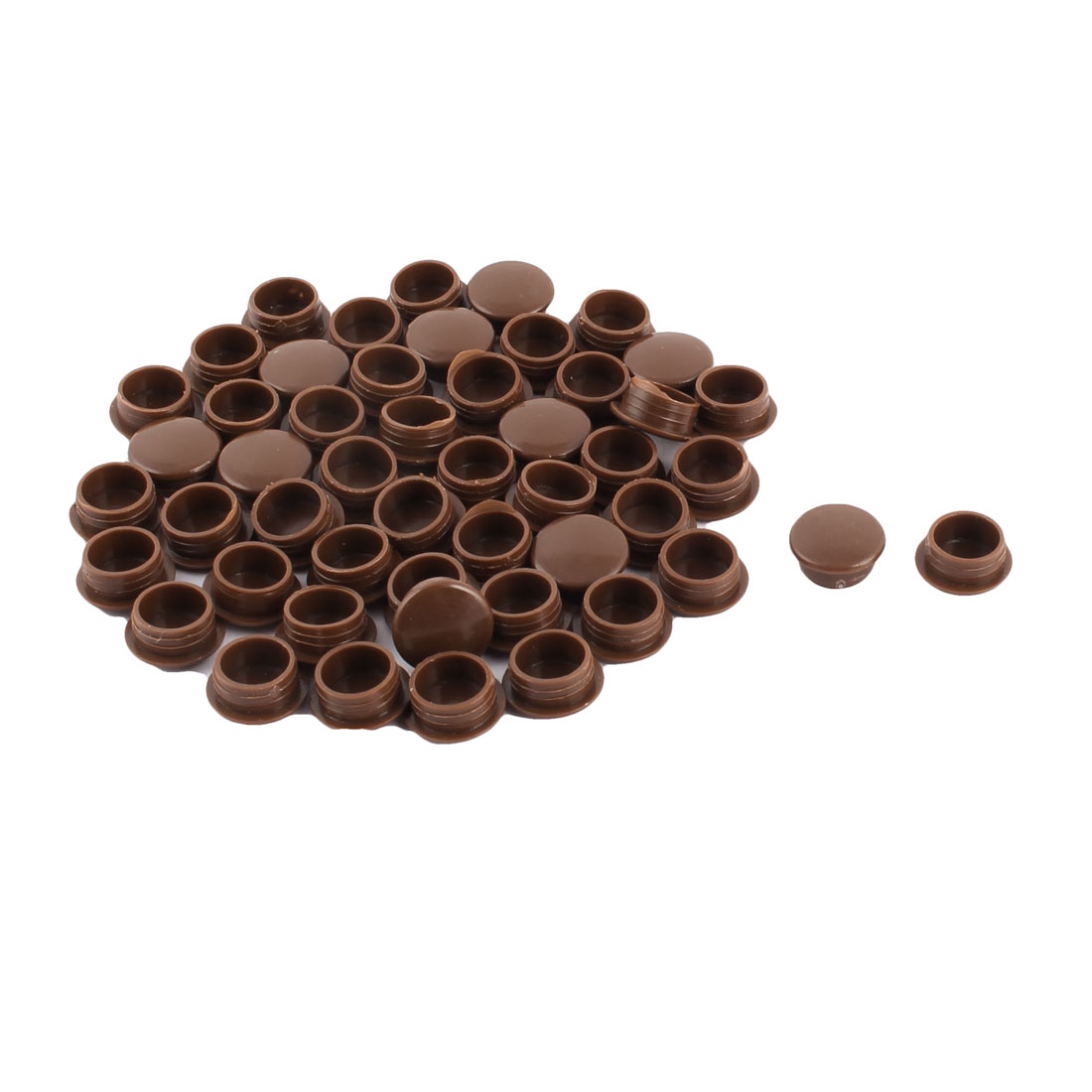 Plastic Flat Type Chair Leg Caps Tube Insert Coffee Color 12mm Fit Dia 50pcs