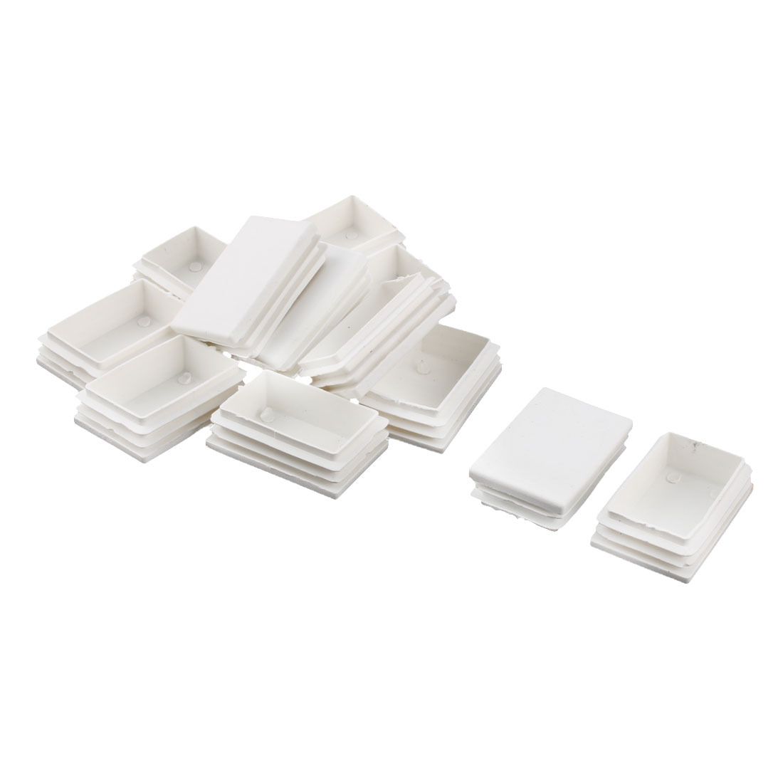 Plastic Rectangle Chair Feet Protector Tube Insert White 40 x 60mm 12 Pcs