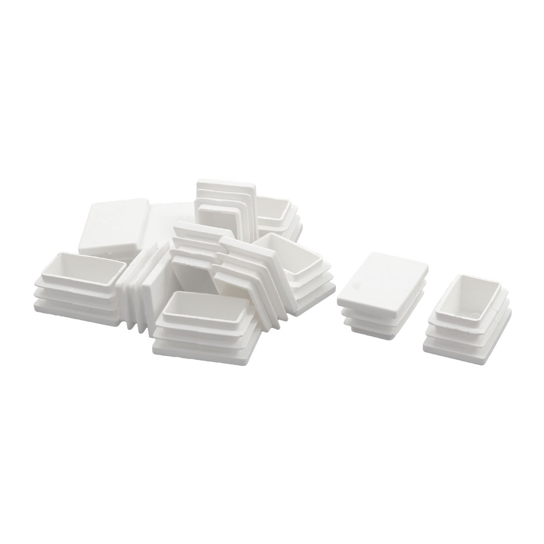Home Plastic Rectangle Shaped Chair Foot Cover Tube Insert White 25 x 38mm 20pcs