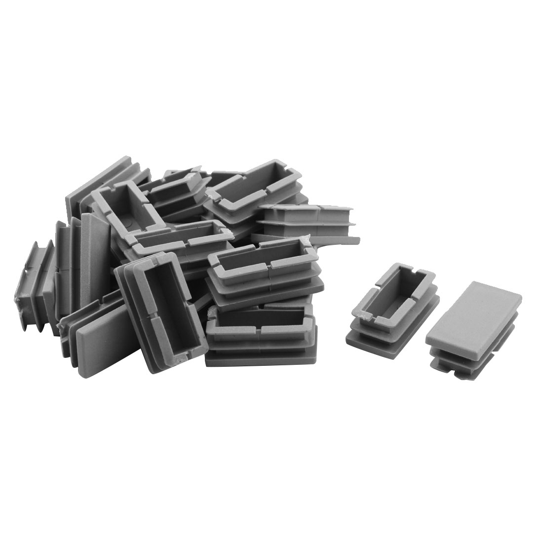 Home Plastic Square Shaped Chair Foot Cover Tube Insert Gray 20 x 40mm 20pcs
