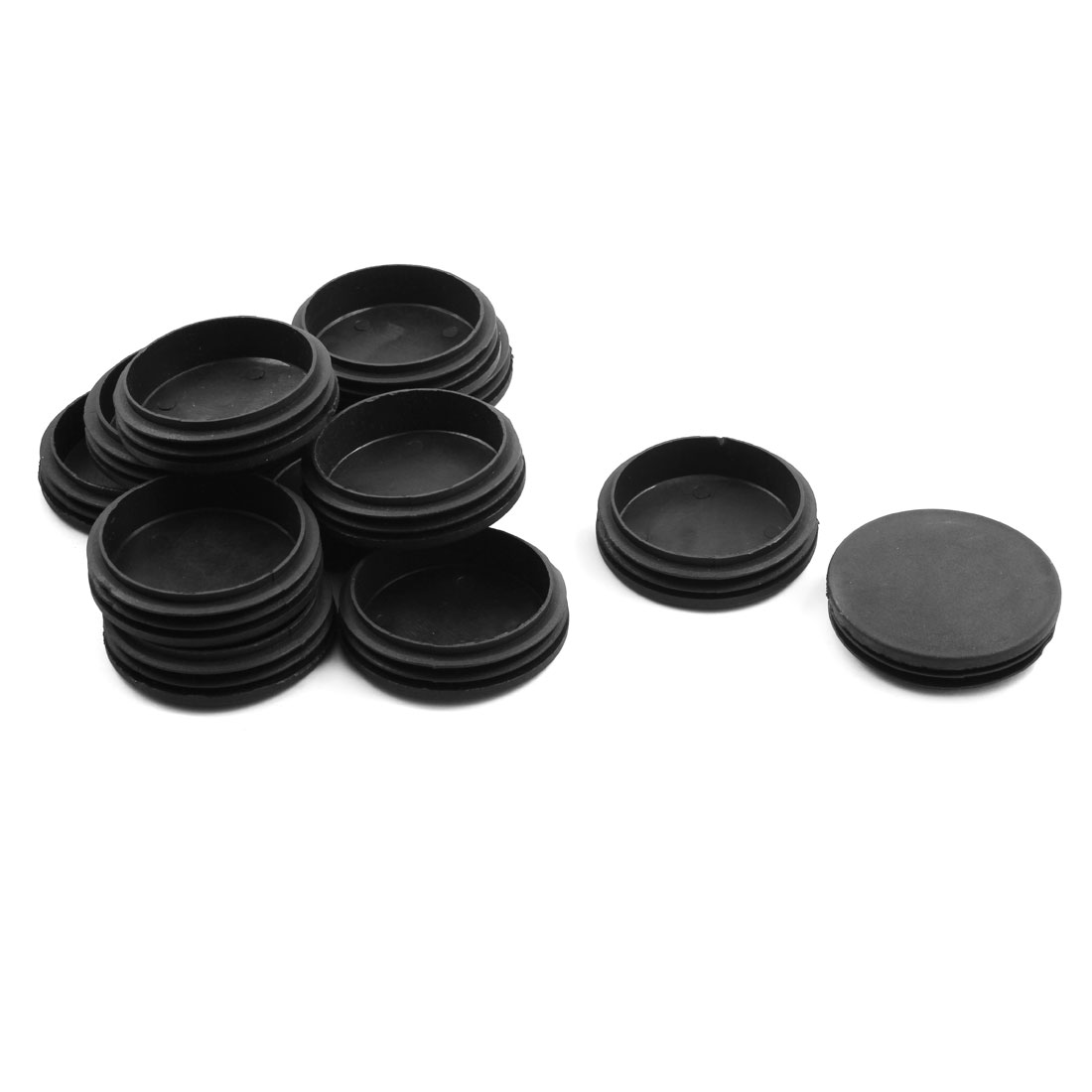 Home Plastic Round Shaped Chair Foot Cover Tube Insert Black 74mm Diameter 12pcs